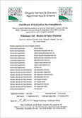 Organic Farmers & Growers Certificate of Evaluation for Compliance